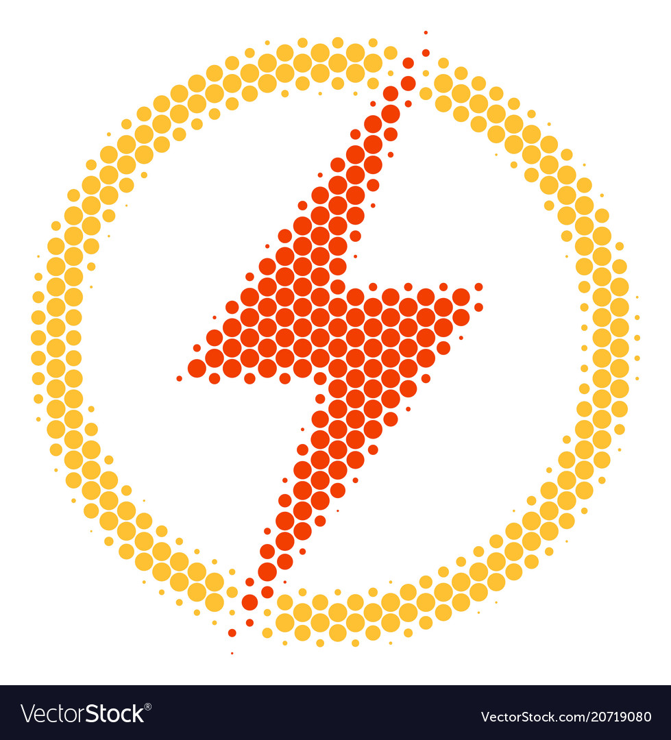 Halftone dot electric power icon Royalty Free Vector Image