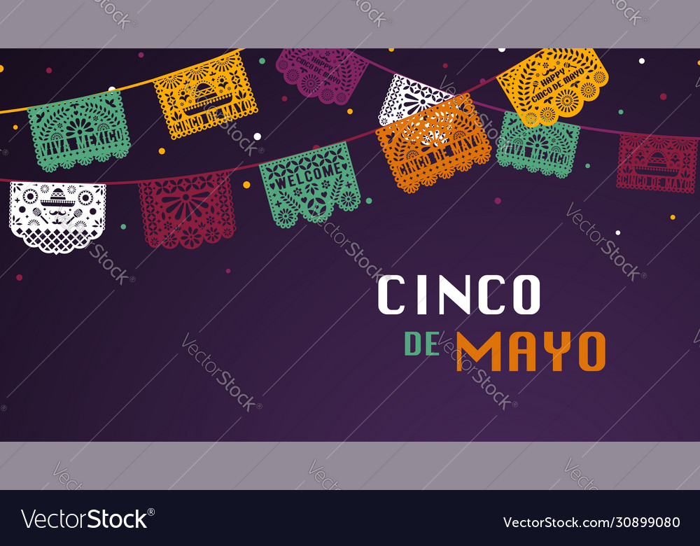 Happy cinco de mayo greeting banner with papel