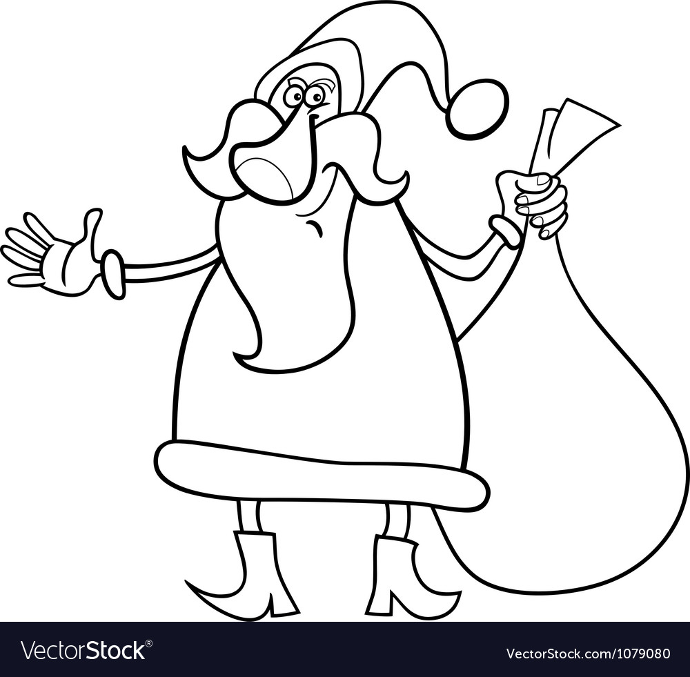 santa claus cartoon for coloring book vector image