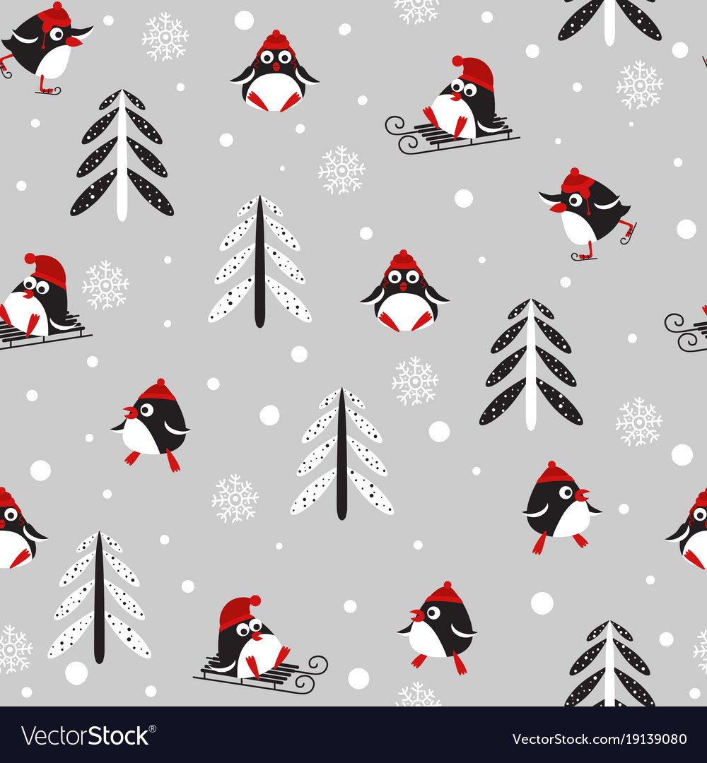 Seamless background with penguins and trees