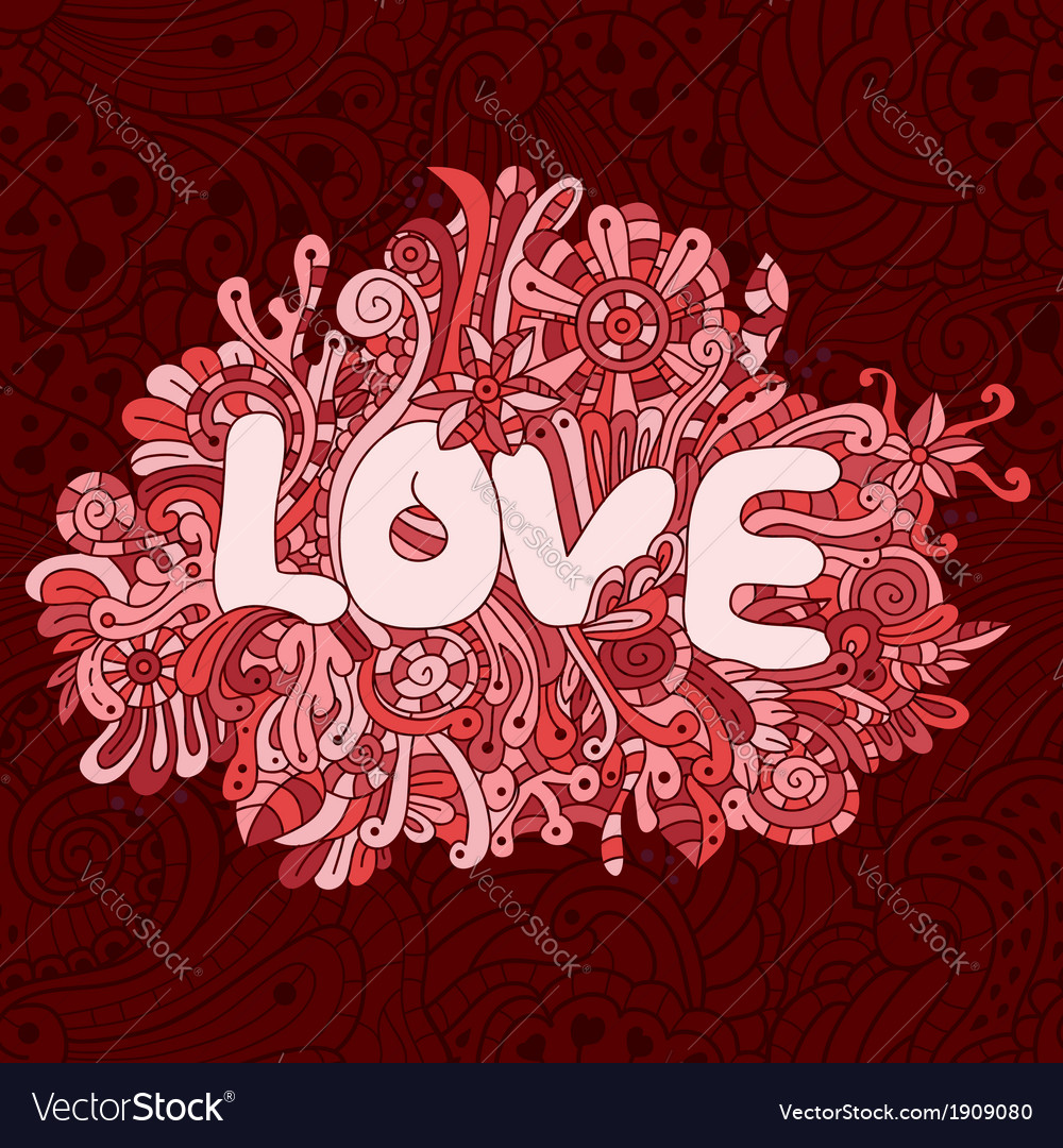 Seamless love texture with abstract flowers vector image