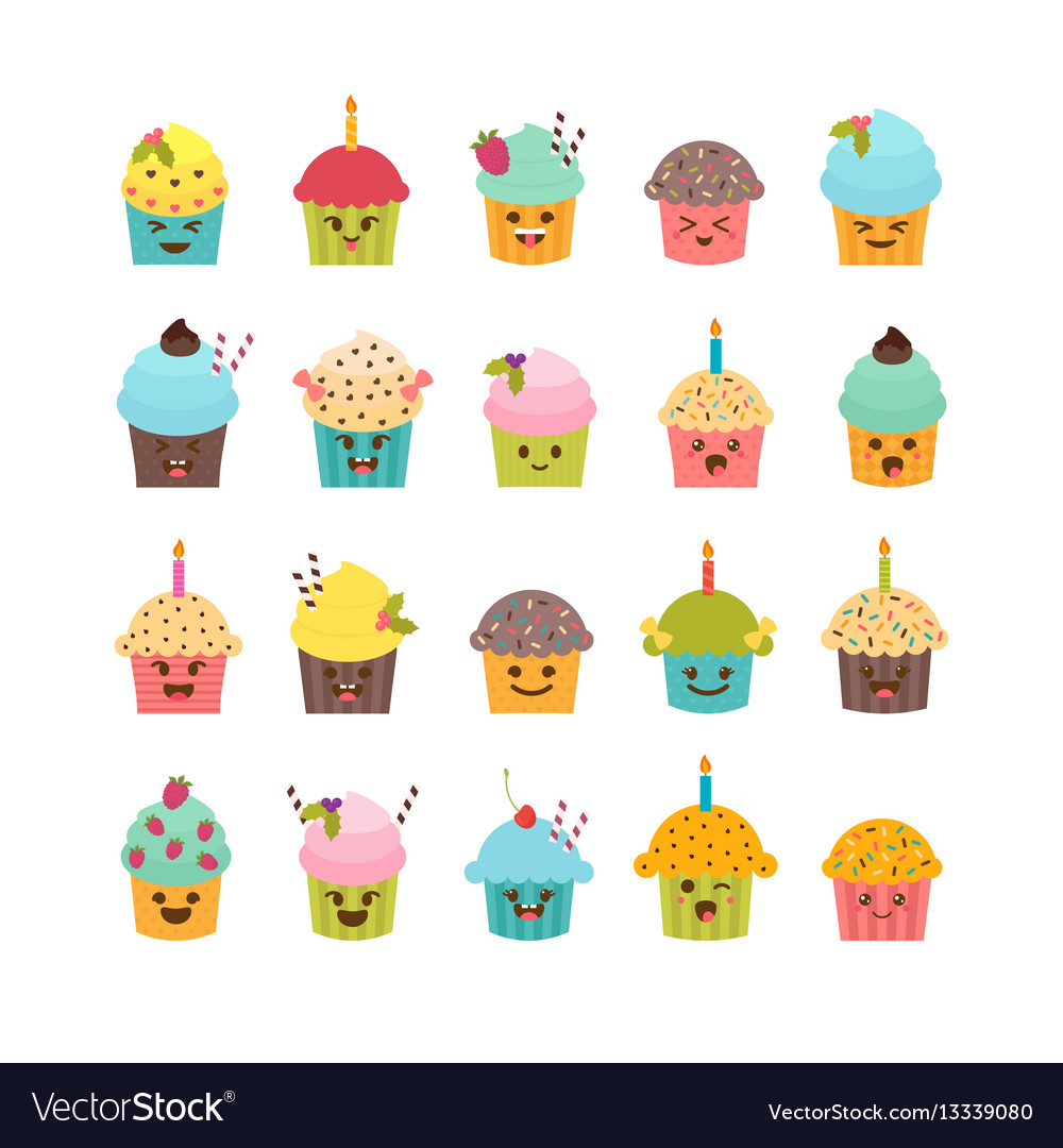 Set of cupcakes and muffins cute cartoon