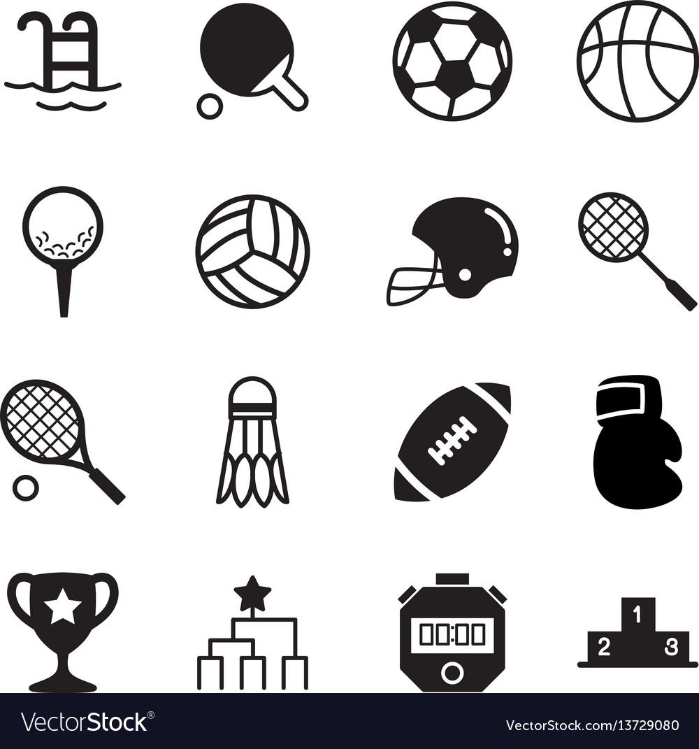 Silhouette basics sports equipment icons symbol