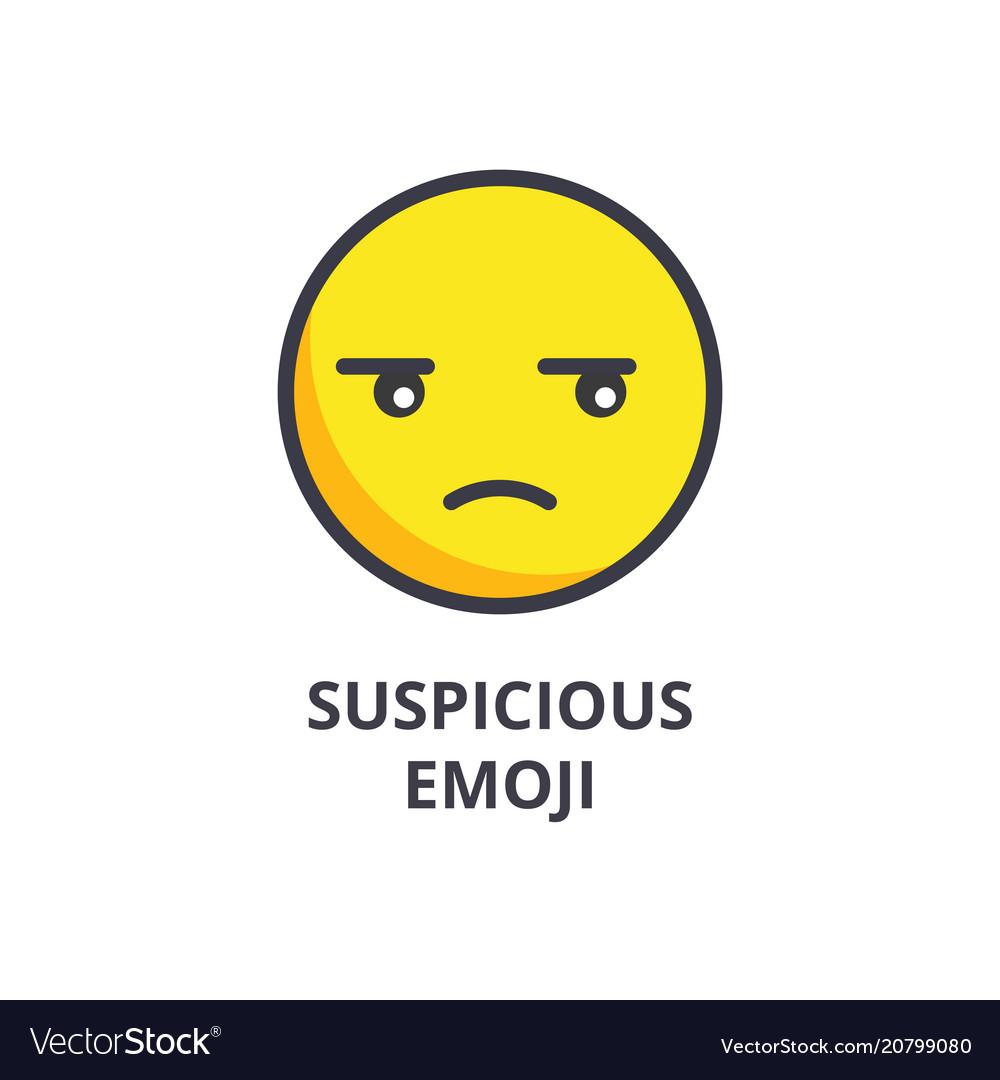 Suspicious emoji line icon sign