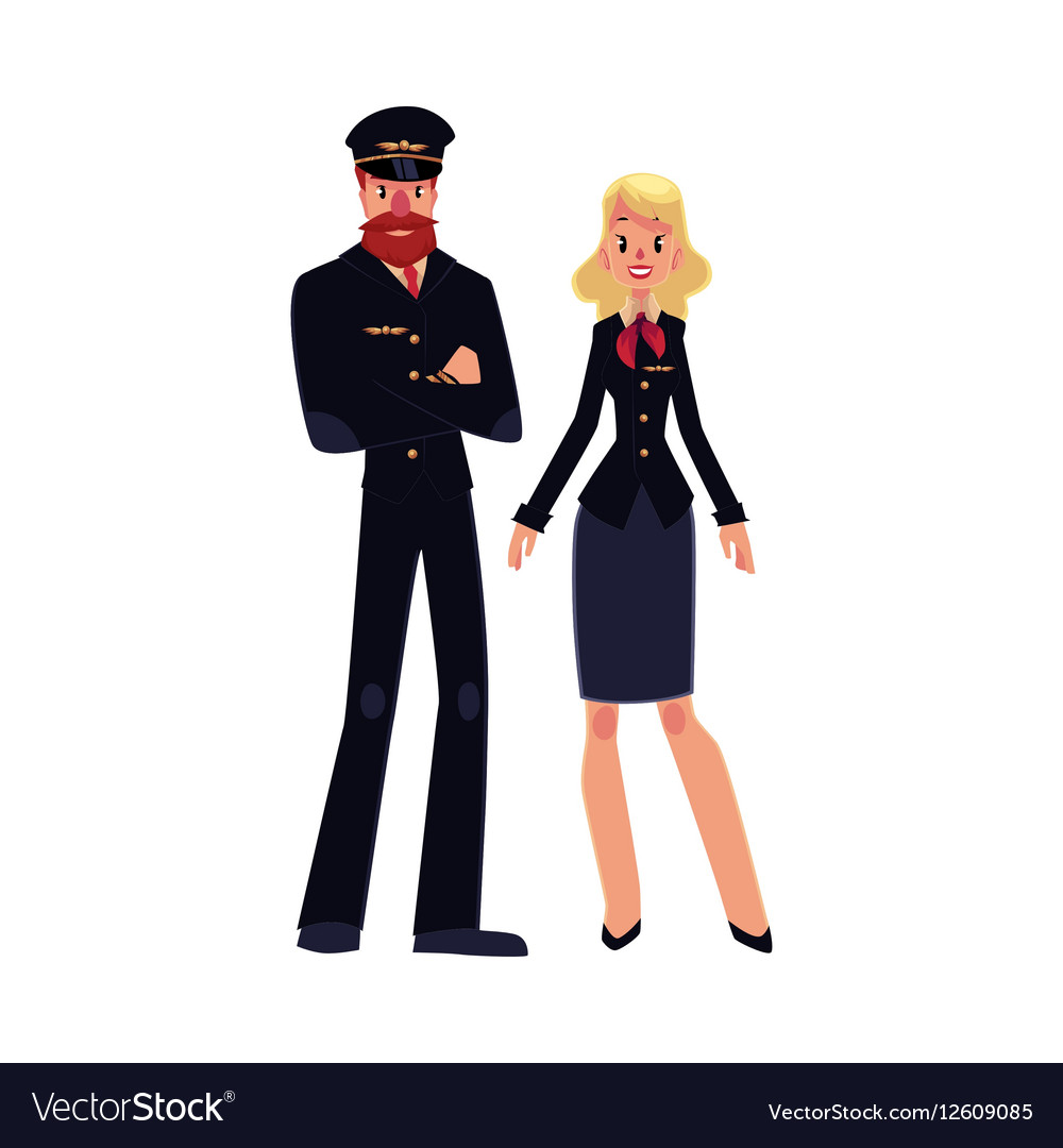 Bearded airline pilot and blond stewardess in