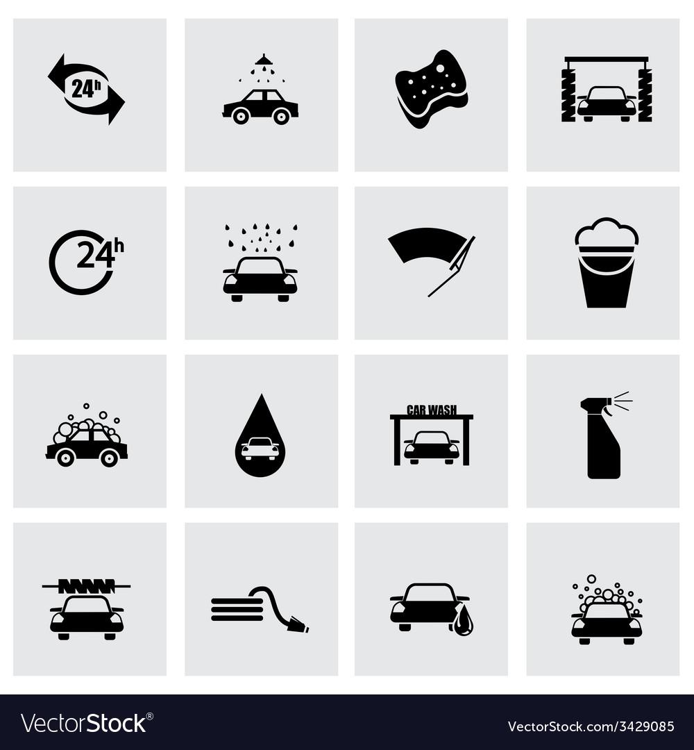 Black car wash icon set