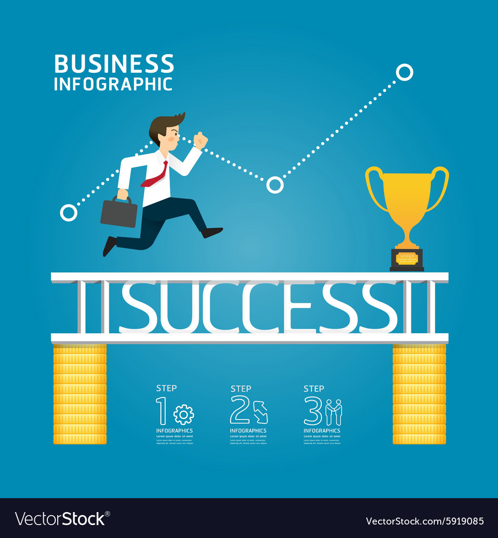 Business run to success concept infographics vector image