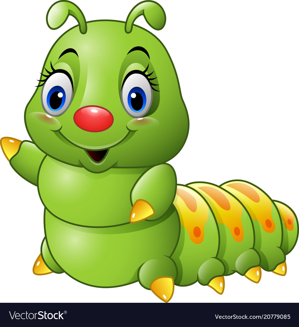 Cartoon Green Caterpillar Royalty Free Vector Image