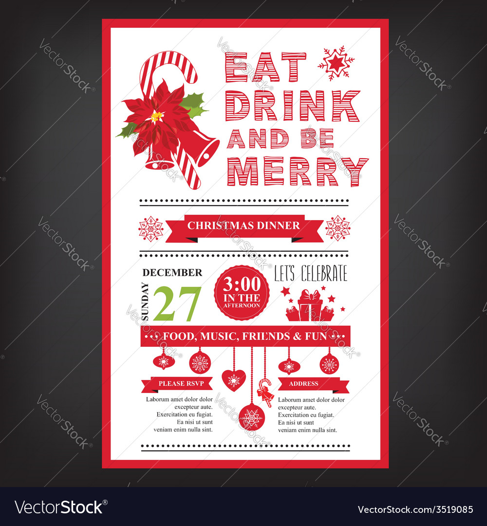 Christmas restaurant and party menu invitation vector image stopboris Image collections