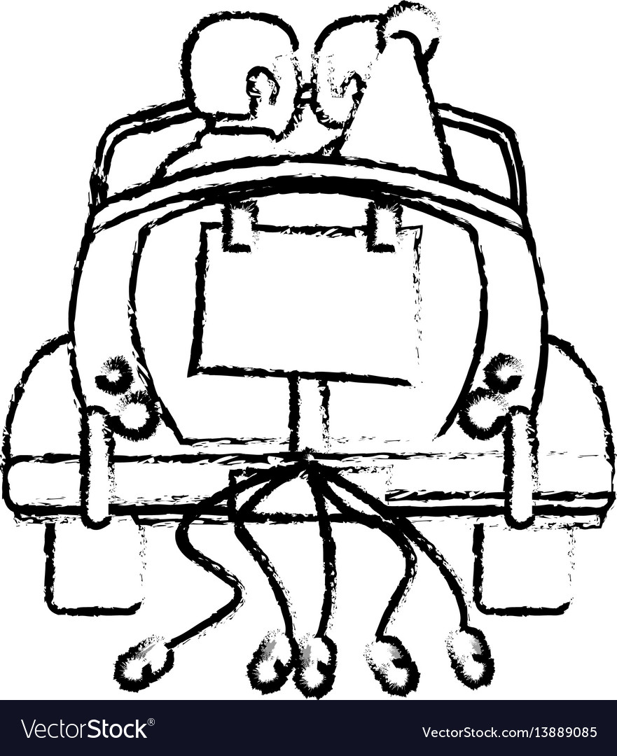 Couple just married car sketch vector image