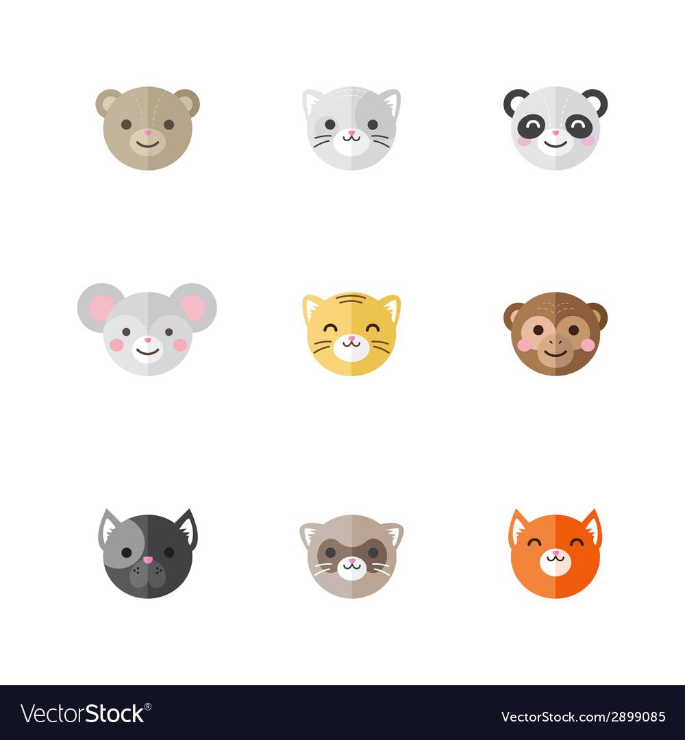 Flat set of funny cartoon animals