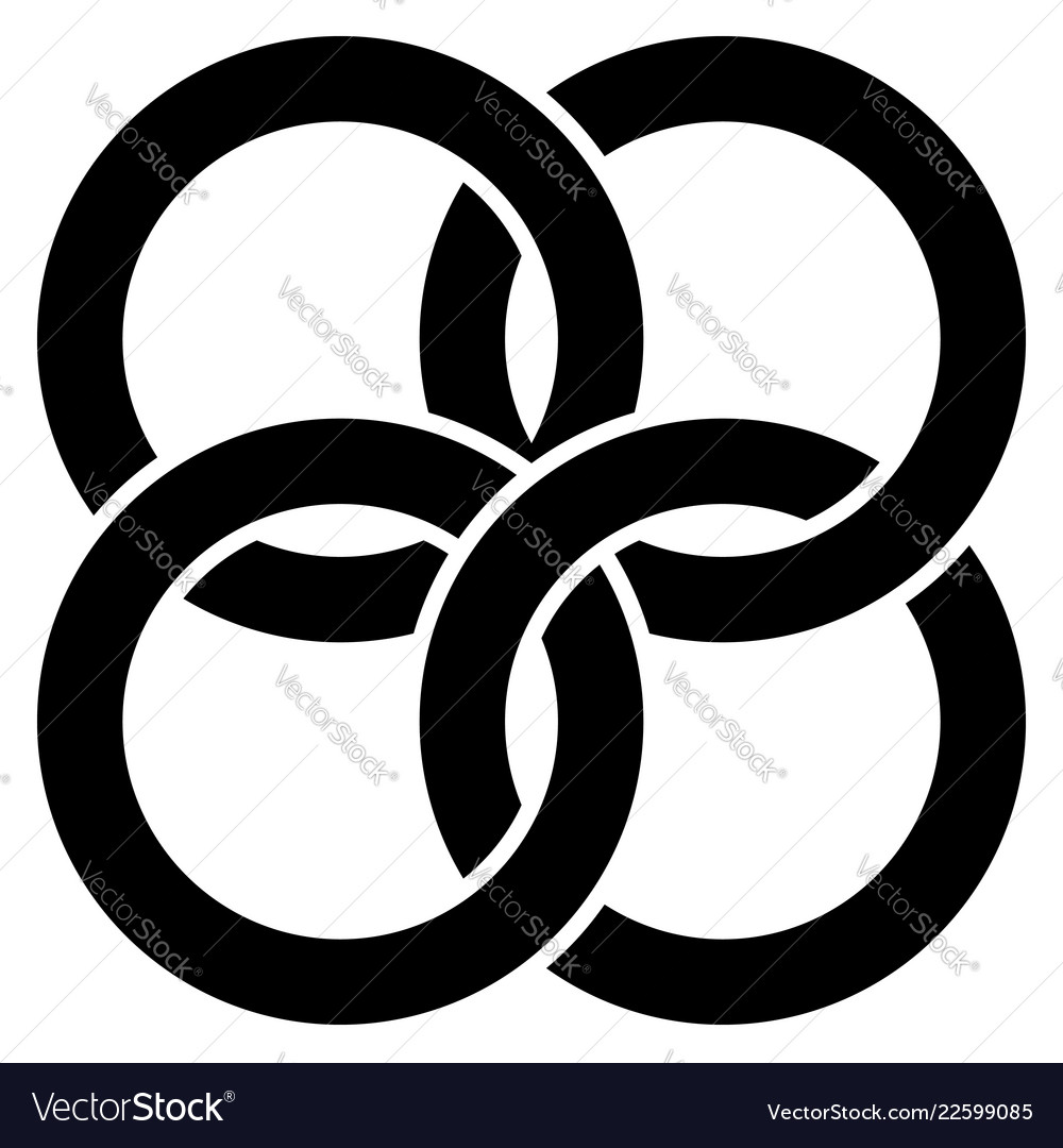 Interlocking circles rings abstract icon