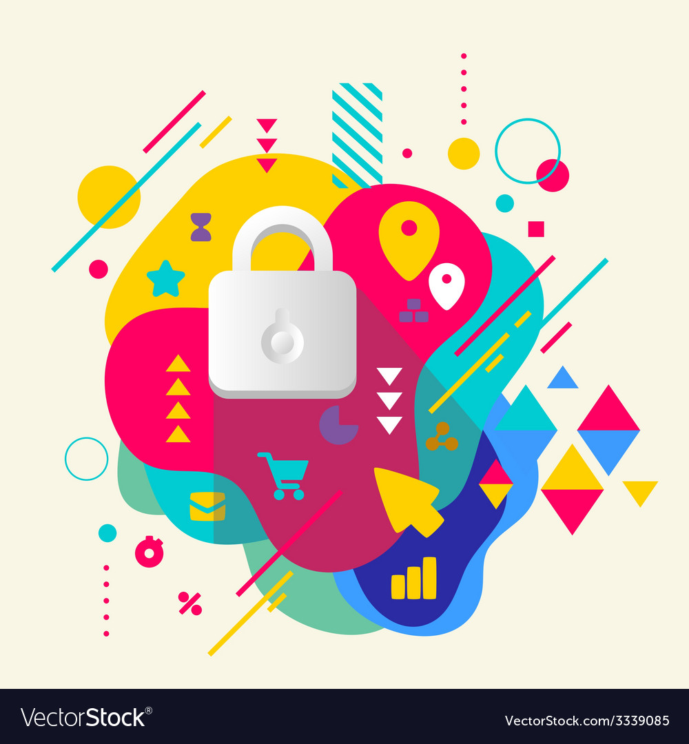 Lock on abstract colorful spotted background with