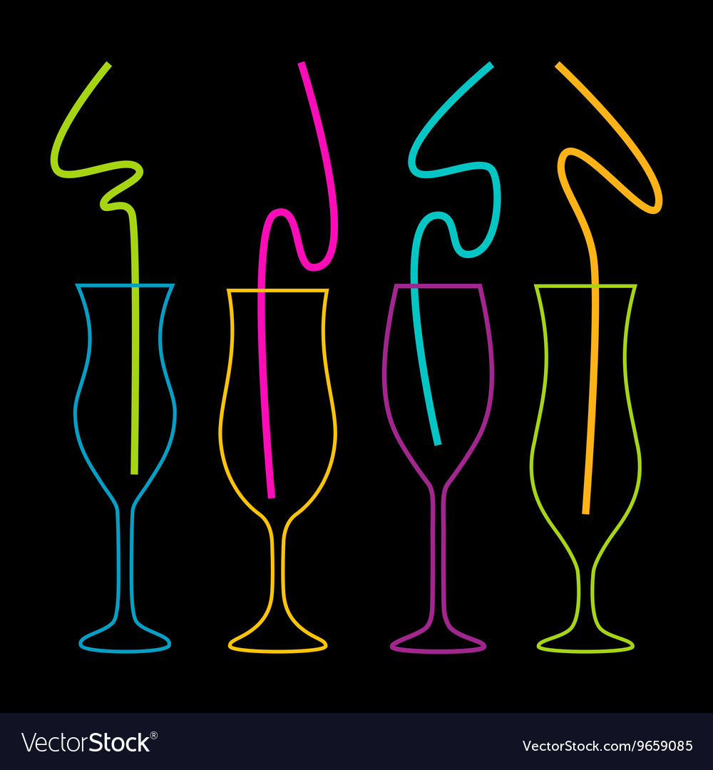 Neon colors on a black background Cocktail Party vector image