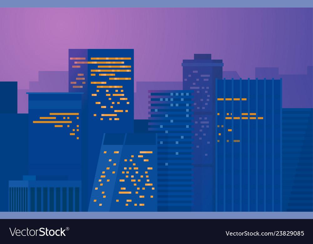 Night city downtown metropolis cityscape on a