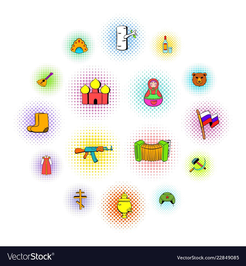 Russia set icons comics style