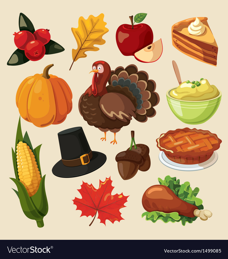 Set colorful cartoon icons for thanksgiving day