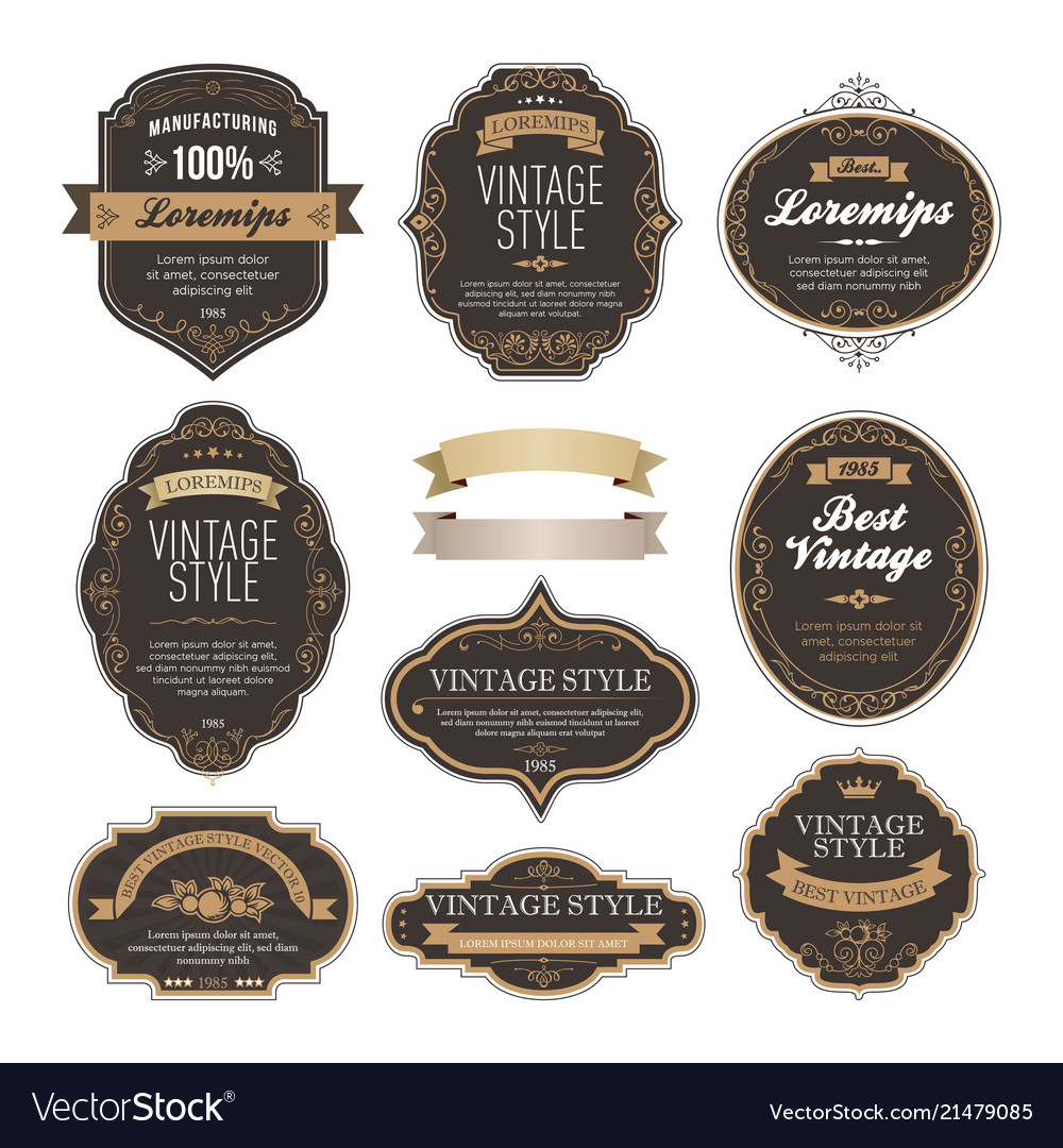 Set of vintage bottle label design Royalty Free Vector Image