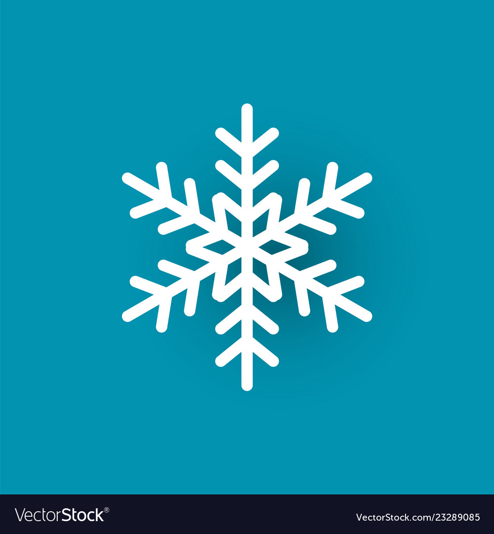 Snowflake cut out icon isolated on blue wintertime