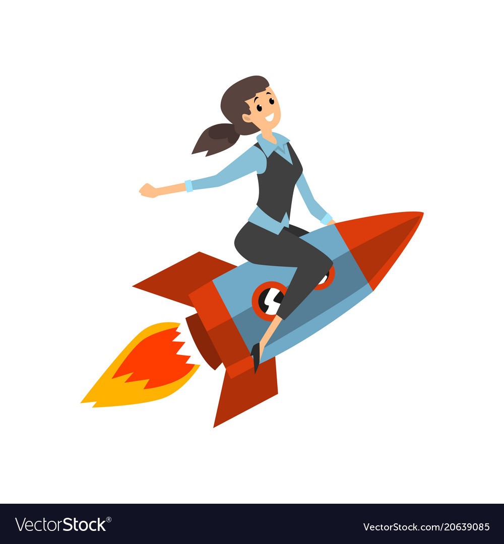 Successful businesswoman on a rocket start up vector image
