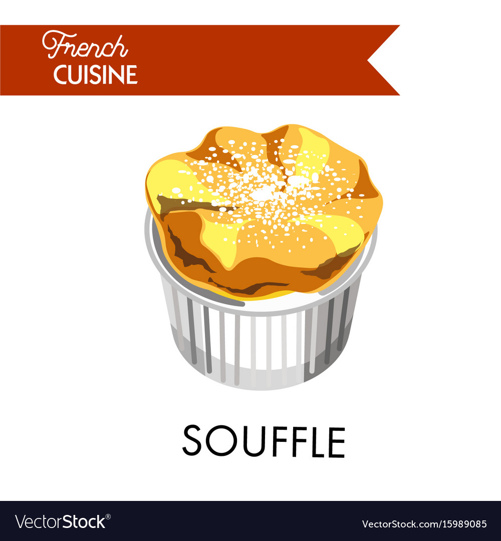 Tender souffle from french cuisine sprinkled with vector image