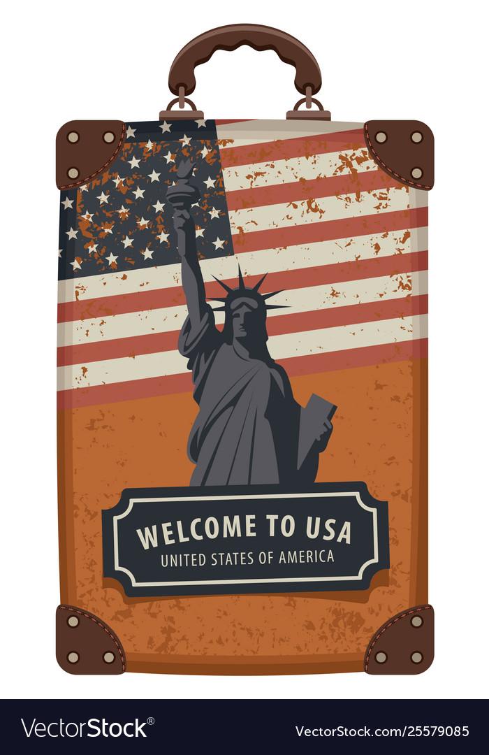 Travel bag with flag usa and statue liberty