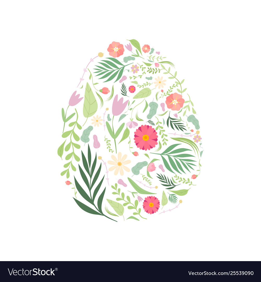 Beautiful egg with floral seamless pattern