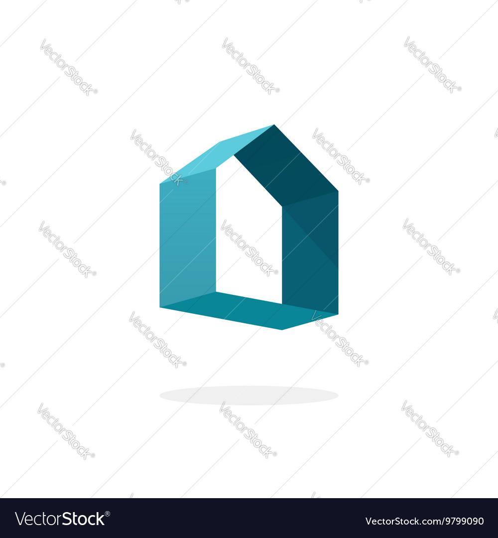 Blue 3d abstract geometric home logo house