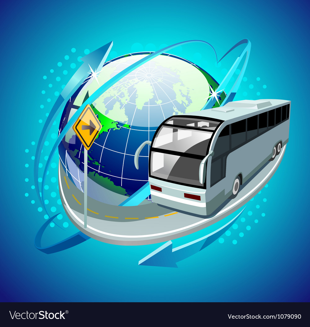 bus moving around the globe royalty free vector image