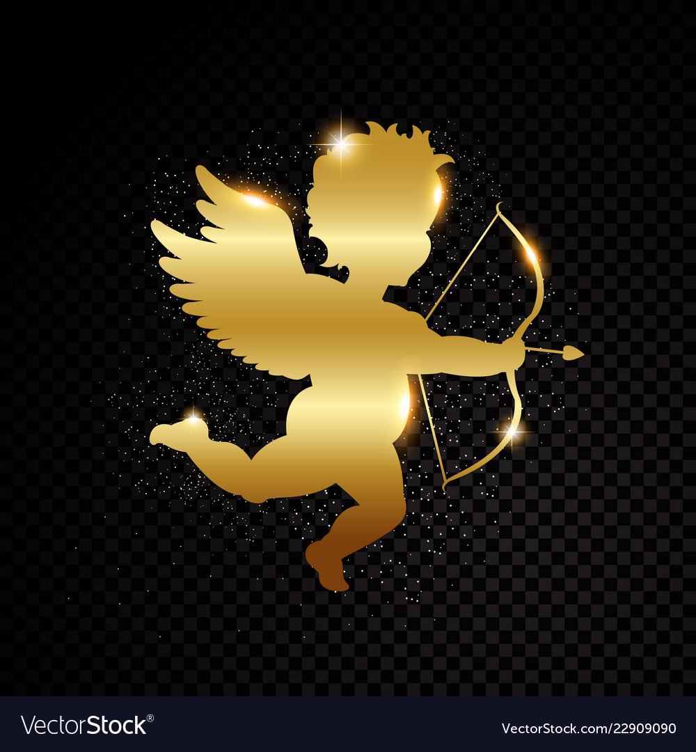 Golden valentine cupid silhouette isolated on