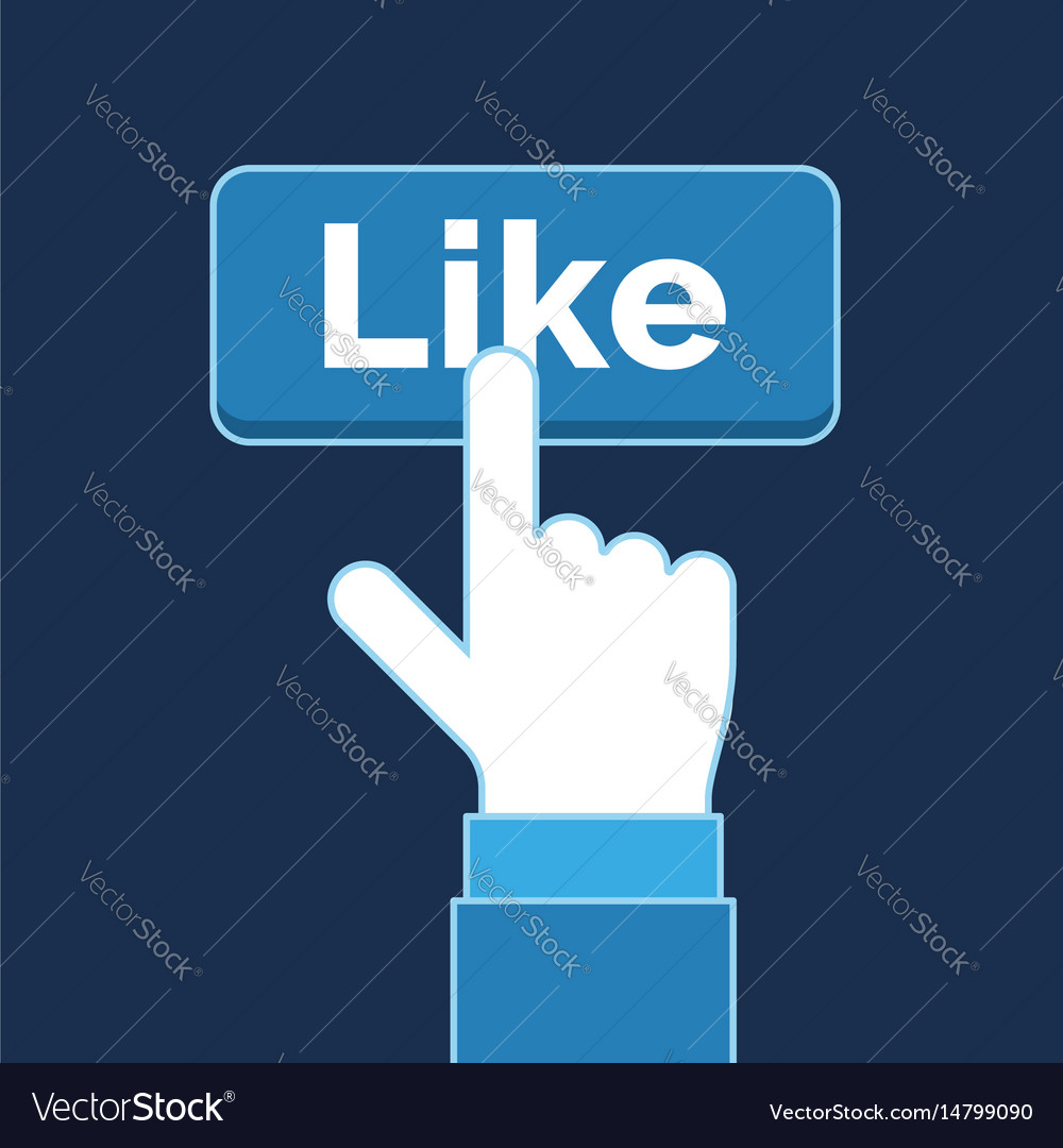 Hand pressing like button social media business