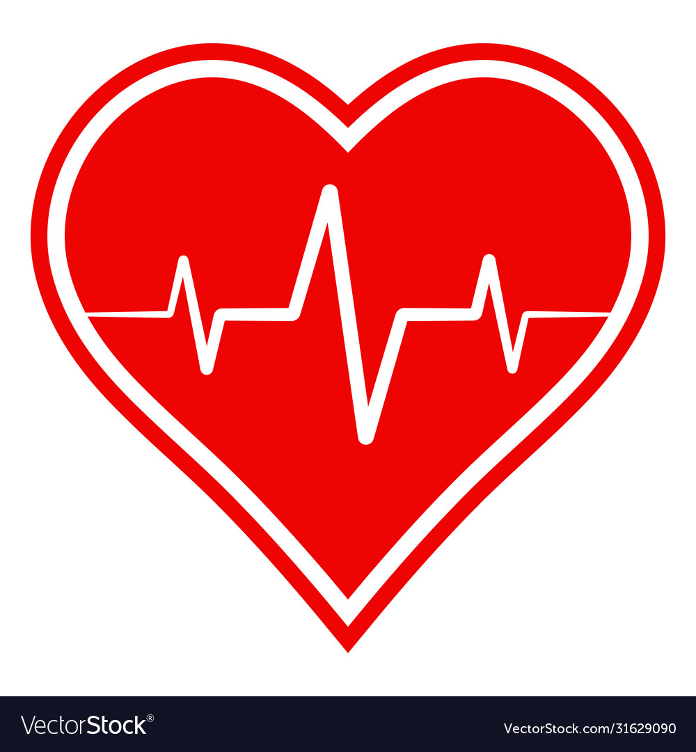 Icon health sign heart with heartbeat