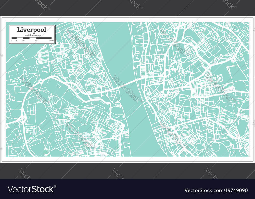 Liverpool england city map in retro style outline Vector Image