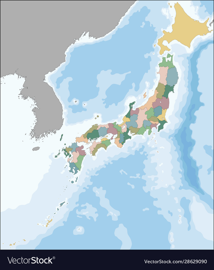 Map Japan Divided Into 47 Prefectures