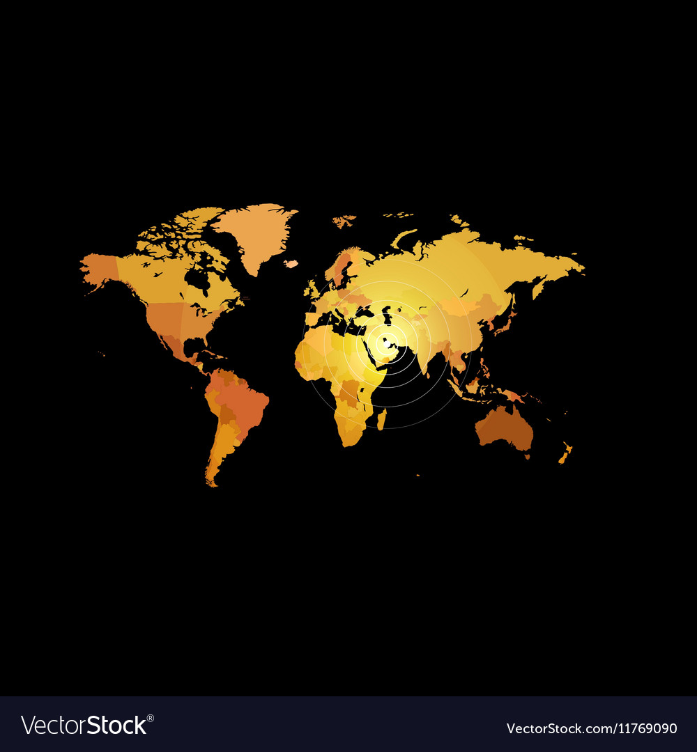 Orange color world map on black background globe vector image gumiabroncs Choice Image