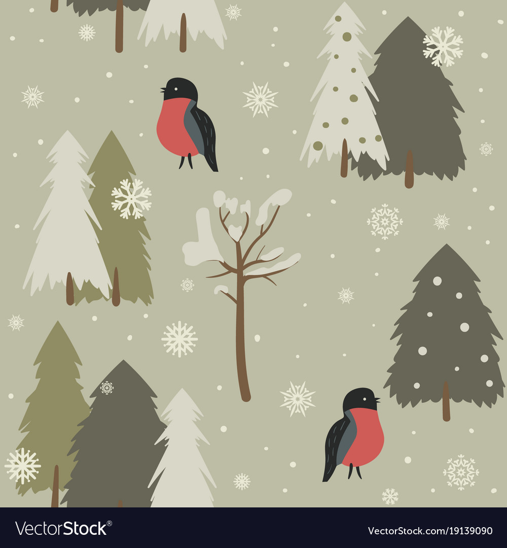 Seamless background with forest and bullfinch