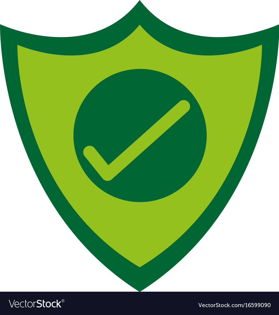 Shield with check mark antivirus icon image