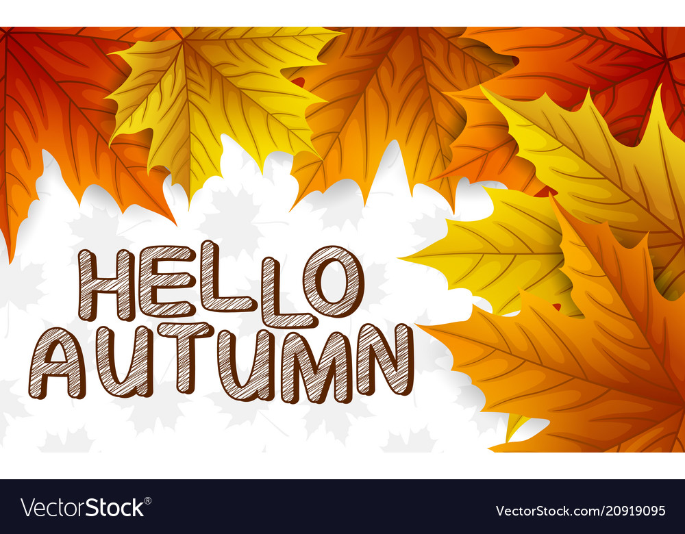 Autumn leaves with lettering on white background