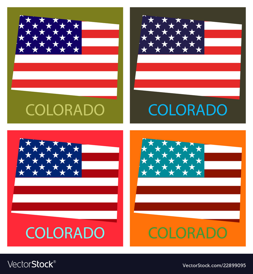 Colorado State Of America With Map Flag Print On Vector Image
