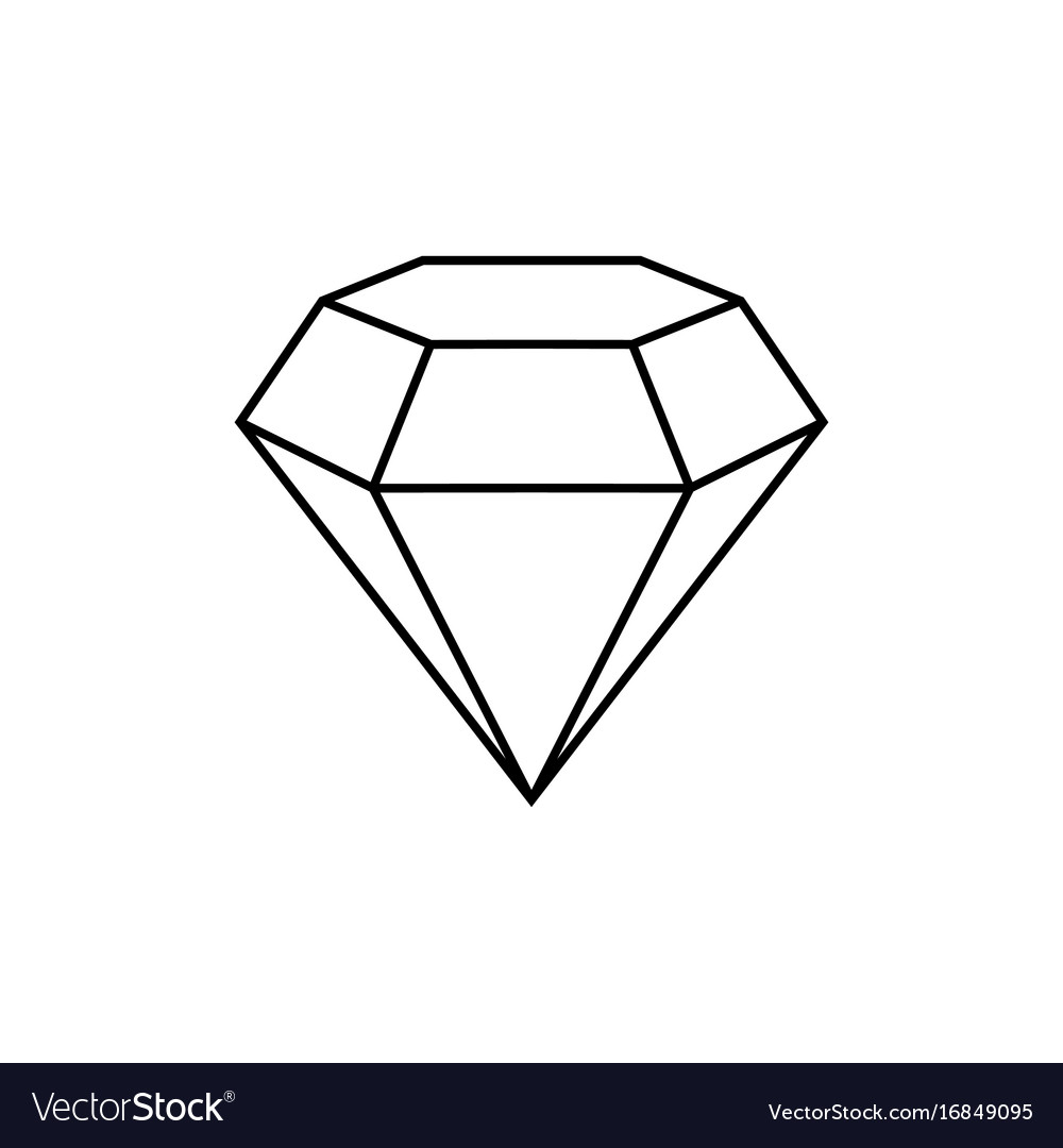 Diamond sign jewelry symbol gem stone flat