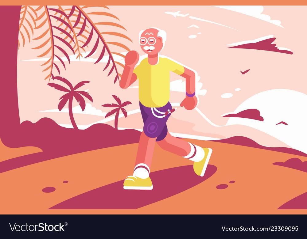 Grandpa at sports suit running at seaside