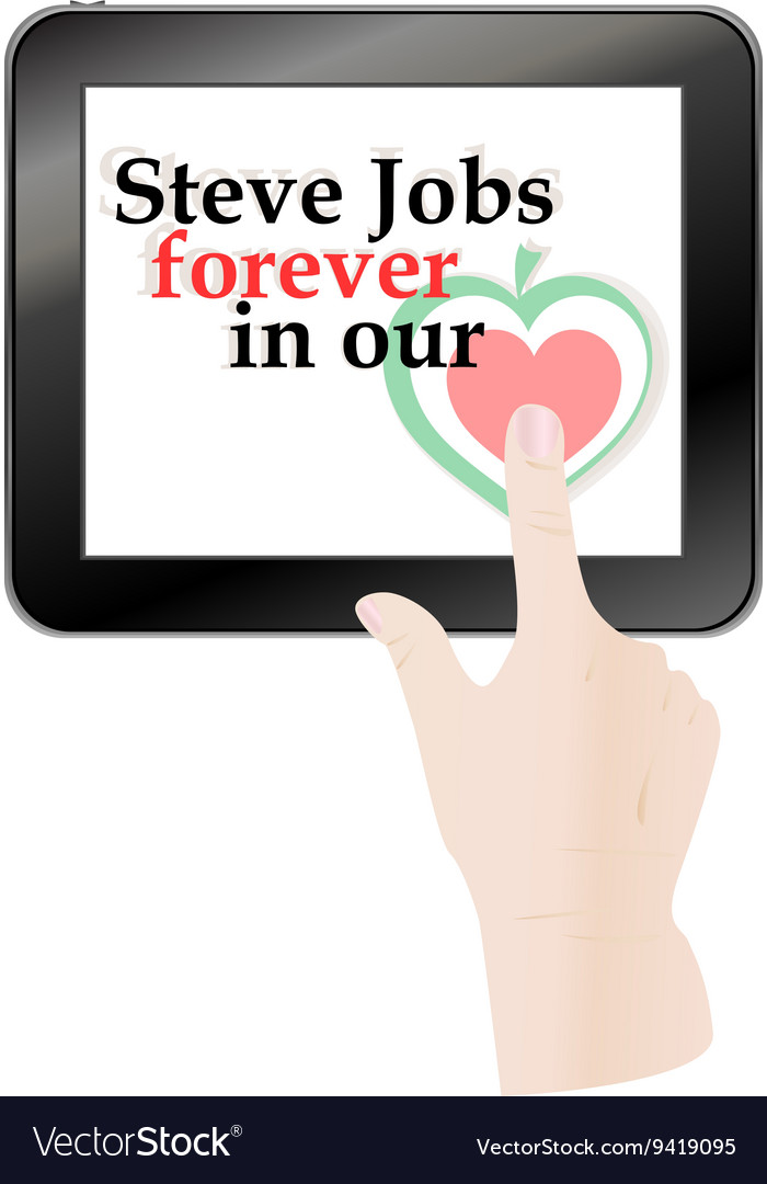 Hands pressing love heart on black abstract tablet