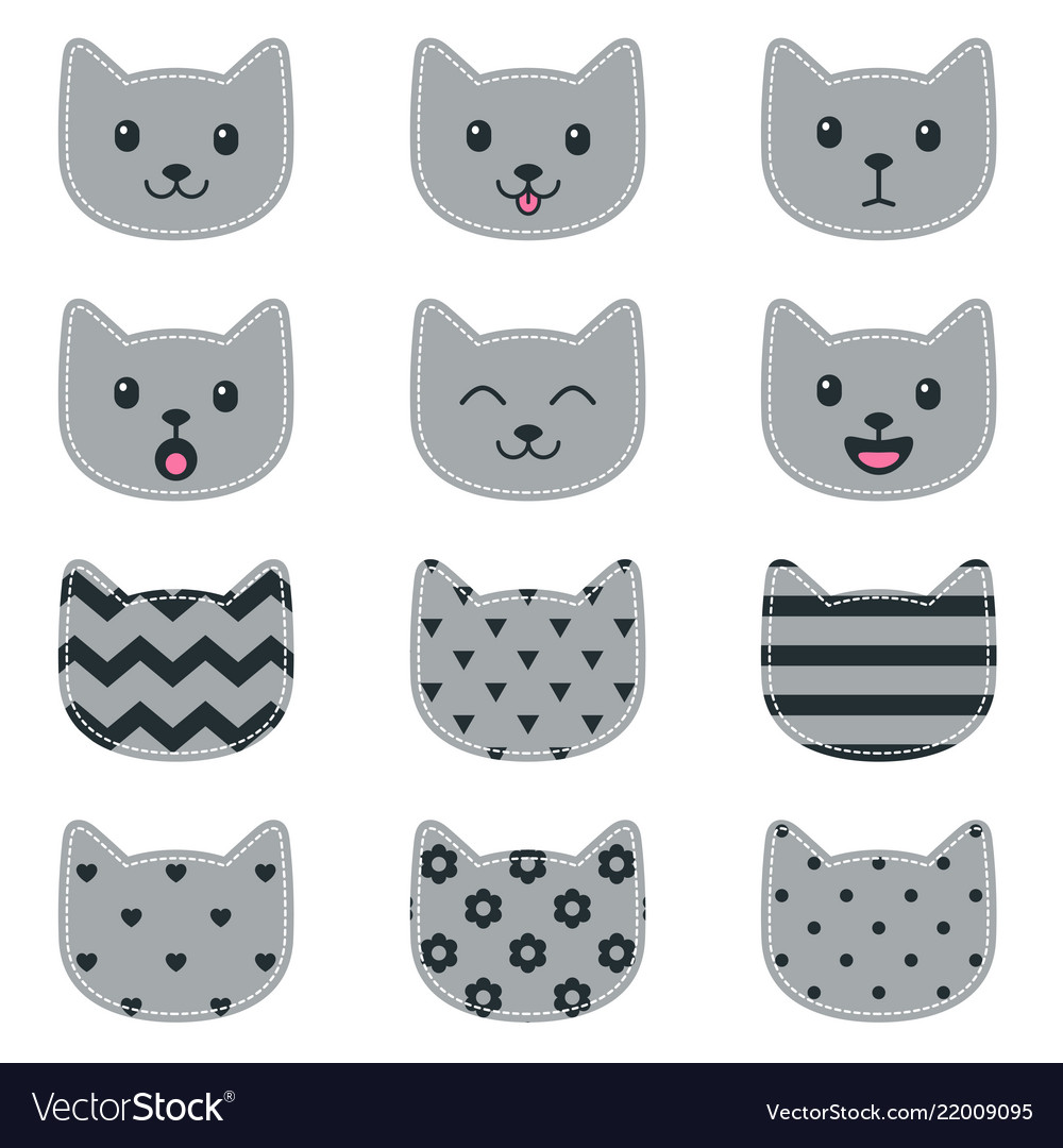 Icons of cat faces isolated on white for