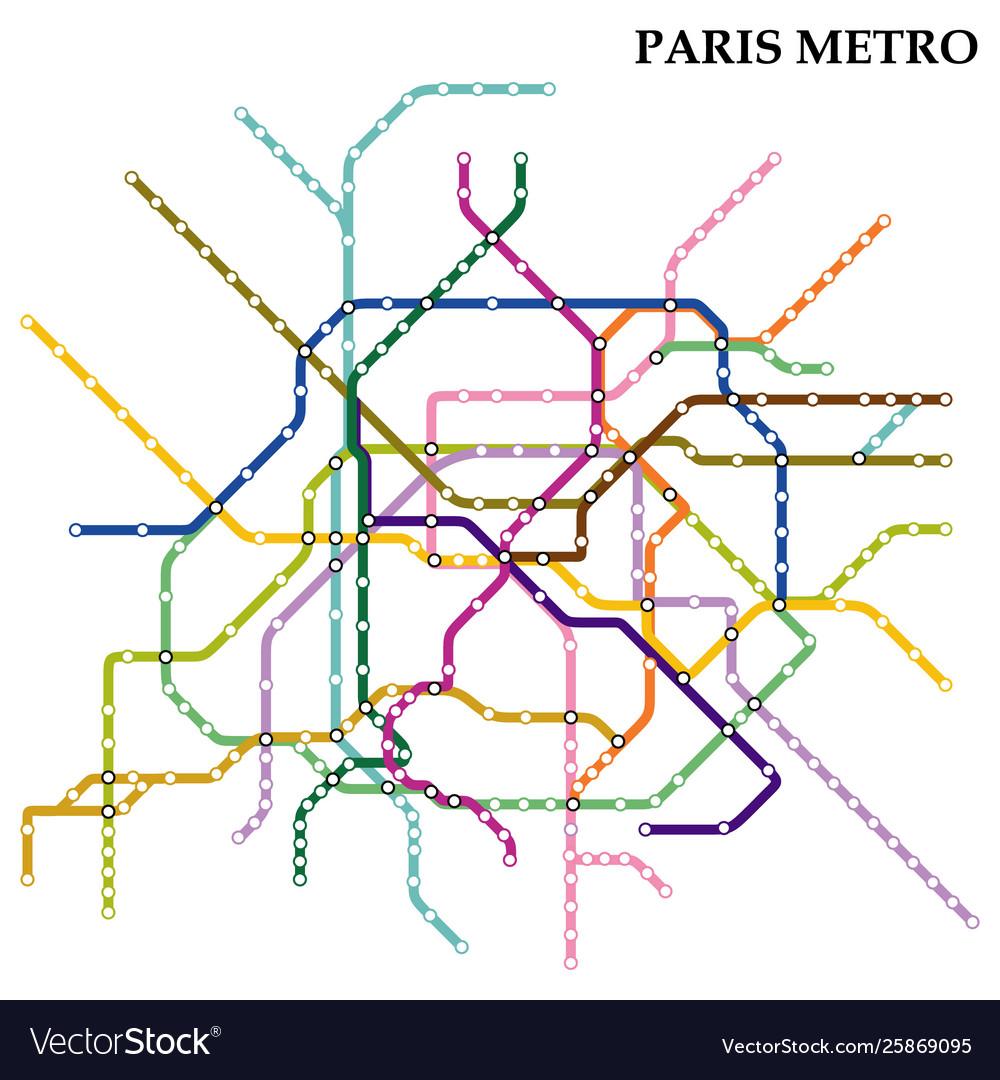 Paris Metro Subway Map.Map Metro Subway Vector Image