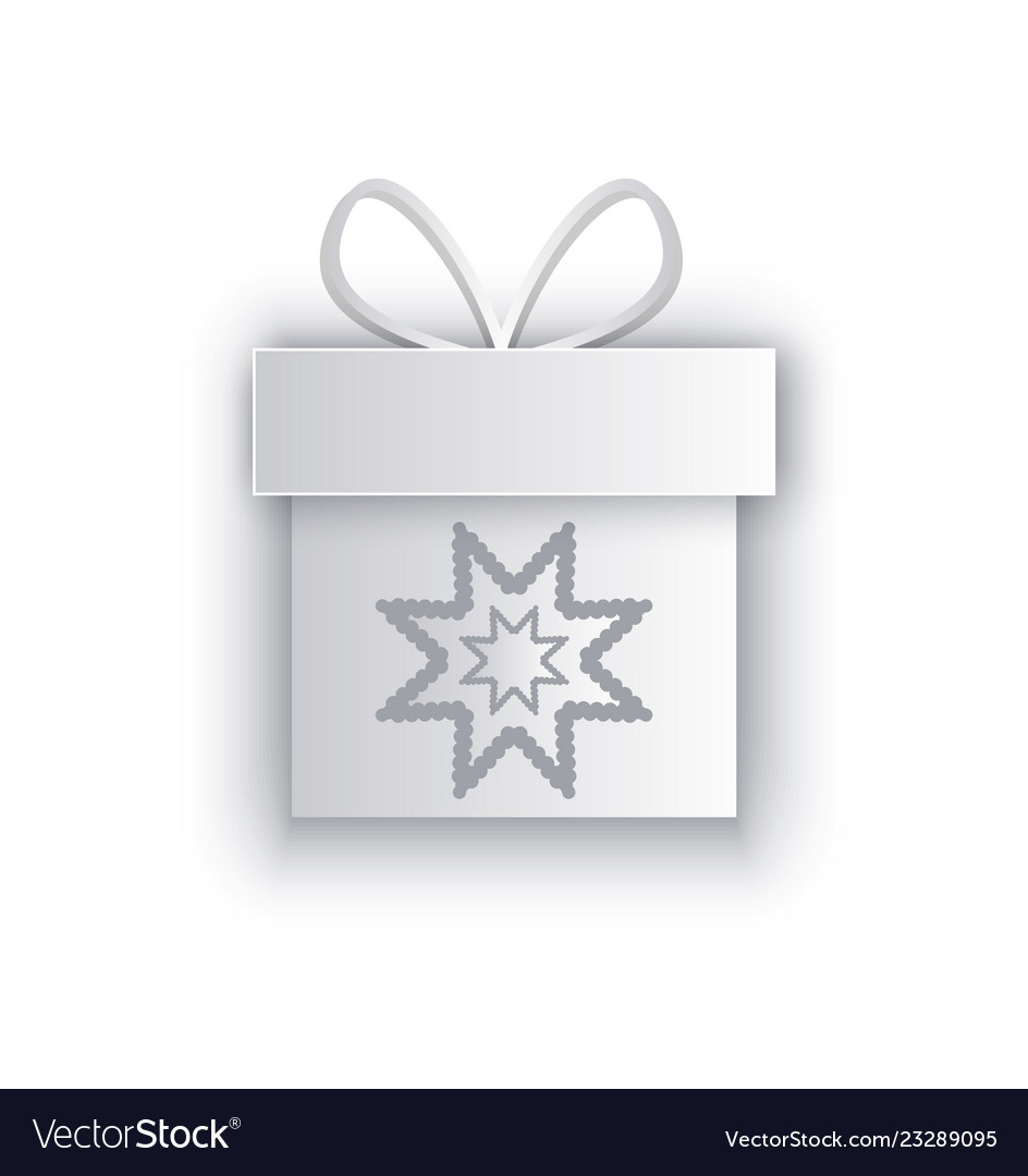 Paper Cut Out Box With Snowflake Decorated By Bow Vector Image