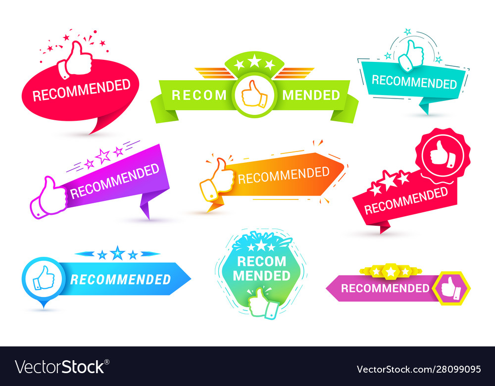 Recommend badges creative templates icon