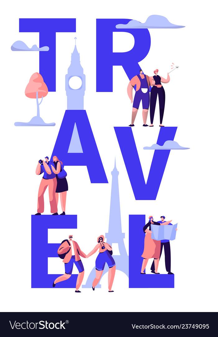 Travel tour around world typography banner design