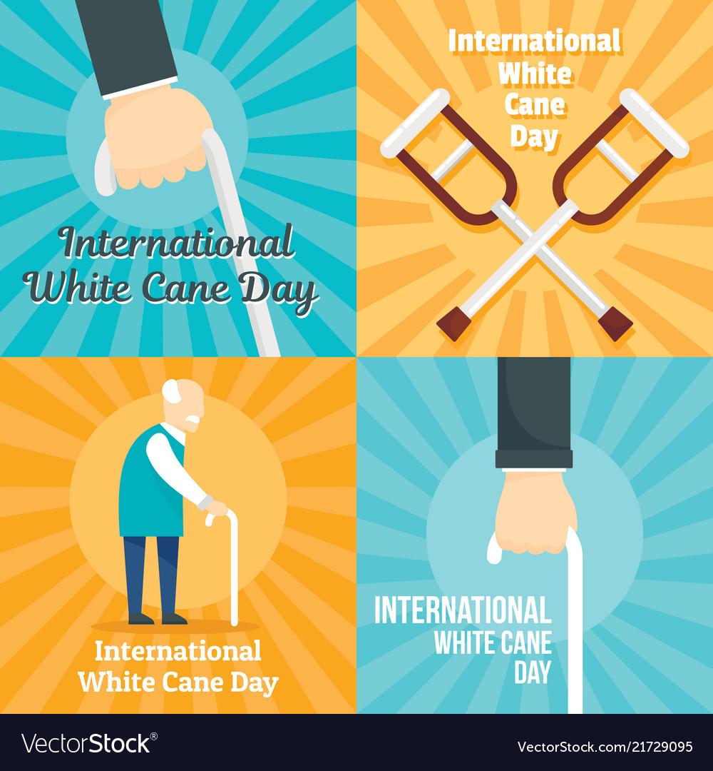 White cane safety stick banner set flat style