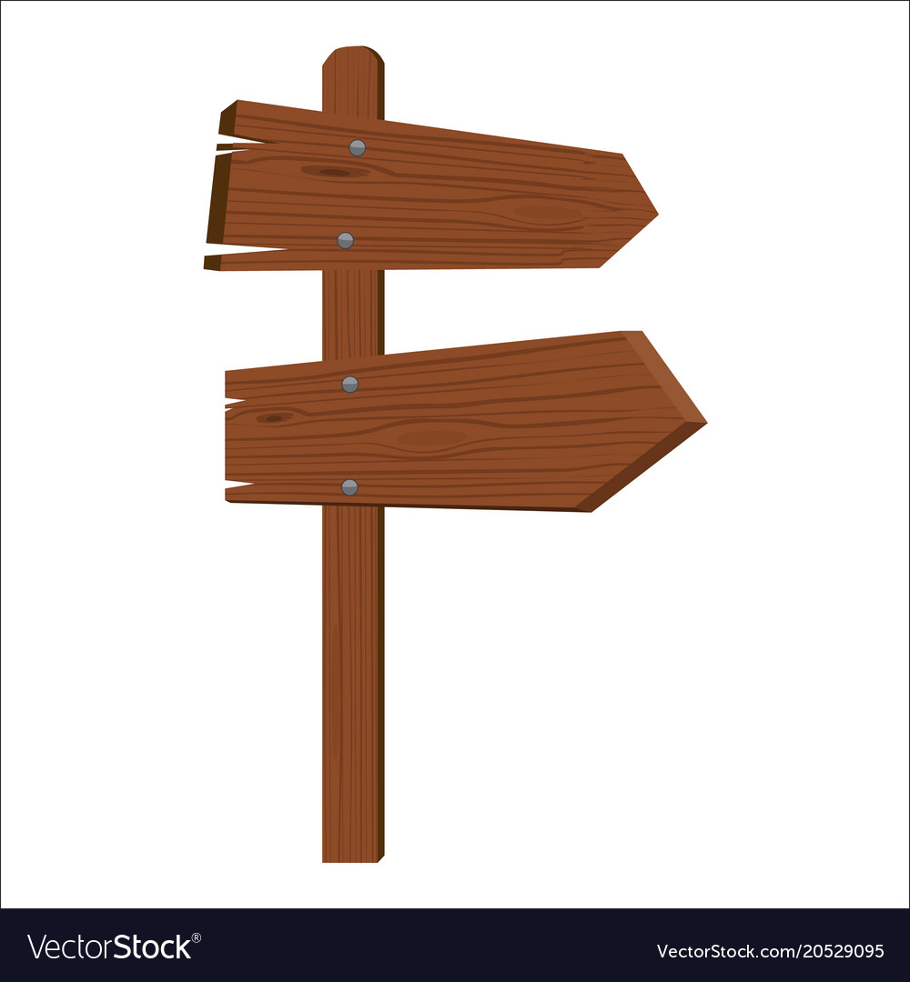 Wooden sign to different sides isolated flat color vector image