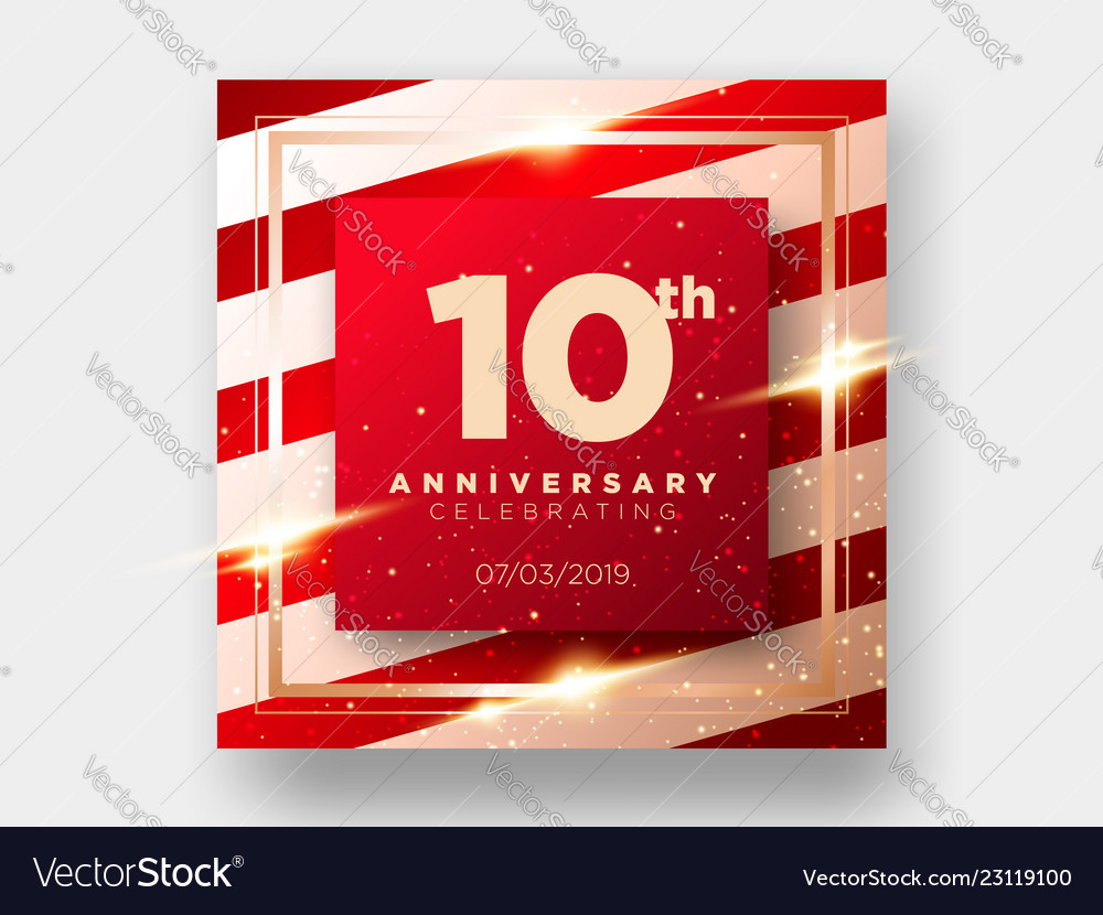 10 years anniversary celebration card 10th